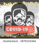 pandemic poster on covid 19... | Shutterstock .eps vector #1870131466
