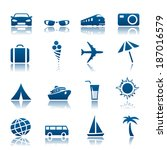travel and tourism icon set.... | Shutterstock . vector #187016579