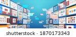 folders mail envelopes cloud... | Shutterstock .eps vector #1870173343