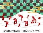 cow new year's card zodiac...   Shutterstock .eps vector #1870176796