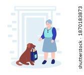 an elderly woman stands in... | Shutterstock .eps vector #1870183873