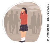 crying woman surrounded by... | Shutterstock .eps vector #1870184389