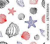 seamless pattern with seashells ...   Shutterstock .eps vector #1870188646