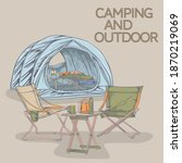 camping products  camping bed ... | Shutterstock .eps vector #1870219069