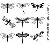 Dragonflies  Black Silhouettes...