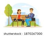 people relaxing in nature in... | Shutterstock .eps vector #1870267300