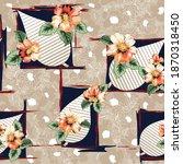 orange vector flowers leaves... | Shutterstock .eps vector #1870318450