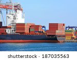 container stack and ship under... | Shutterstock . vector #187035563