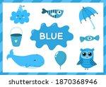 blue. educational worksheet for ... | Shutterstock .eps vector #1870368946