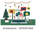 gifts  shopping  sales for... | Shutterstock .eps vector #1870391560