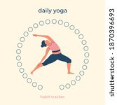 daily yoga. 31 days of sports....   Shutterstock .eps vector #1870396693