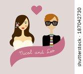 wedding card. retro vintage...   Shutterstock .eps vector #187042730
