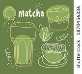 matcha hand drawn outline... | Shutterstock .eps vector #1870456336