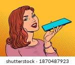 a woman is talking on a... | Shutterstock .eps vector #1870487923
