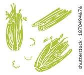 celery. stalks  sticks  leaves... | Shutterstock .eps vector #1870494676