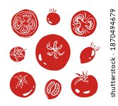 tomato  cherry tomato  slices... | Shutterstock .eps vector #1870494679