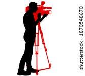 cameraman with video camera.... | Shutterstock . vector #1870548670