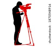 cameraman with video camera.... | Shutterstock . vector #1870548916