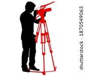 cameraman with video camera.... | Shutterstock . vector #1870549063