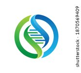 dna symbol on a circle.... | Shutterstock .eps vector #1870569409