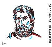 zeno engraved vector portrait...   Shutterstock .eps vector #1870578910