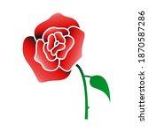 rose icon vector on white...   Shutterstock .eps vector #1870587286
