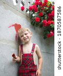 Cute Boy In A Plaid Jumpsuit...