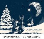 Winter Forest  Hares  Log Cabin ...