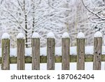 Winter Fence With Snow On Top