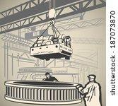 workers unloading heavy...   Shutterstock .eps vector #187073870