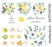 yellow rose  hydrangea  white... | Shutterstock .eps vector #1870749700