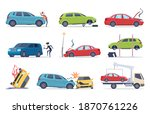 accident on road. car damaged... | Shutterstock . vector #1870761226