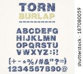 torn burlap alphabet | Shutterstock .eps vector #187080059