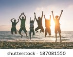 multiracial group of people... | Shutterstock . vector #187081550