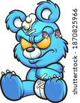 Angry Cartoon Blue Teddy Bear...