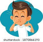 boy pinching his nose covering... | Shutterstock .eps vector #1870866193