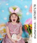 little girl very excited for... | Shutterstock . vector #187087178