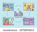 people working together on an... | Shutterstock .eps vector #1870894813