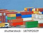 port cargo container in port of ...   Shutterstock . vector #187092029