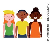 young interracial people... | Shutterstock .eps vector #1870923340