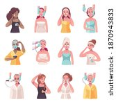 skincare cartoon set with 12... | Shutterstock .eps vector #1870943833