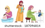 arabian mothers with their kids ... | Shutterstock .eps vector #187096814