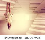 a beautiful woman defying... | Shutterstock . vector #187097936