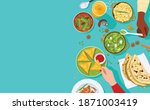 food banner  top view of people ... | Shutterstock .eps vector #1871003419