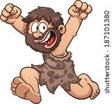happy cartoon caveman. vector...   Shutterstock .eps vector #187101380