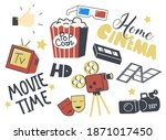set of icons home cinema theme. ... | Shutterstock .eps vector #1871017450