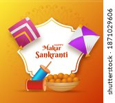 happy makar sankranti text with ... | Shutterstock .eps vector #1871029606