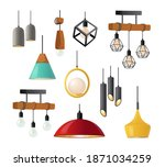 set of realistic hanging lamps...   Shutterstock .eps vector #1871034259
