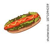 vector hotdog with mustard.... | Shutterstock .eps vector #1871094259