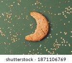 Bite of moon shape cookie...